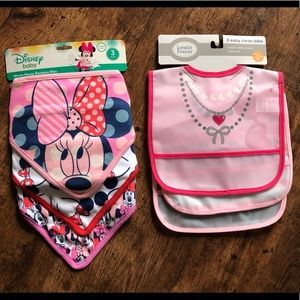 Set of Disney Minnie Mouse & Necklace Print Bibs